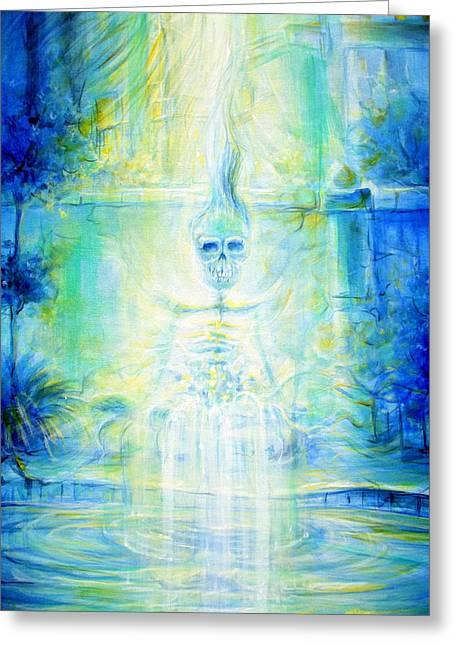 Blue Skeleton Meditation Greeting Card by Heather Calderon