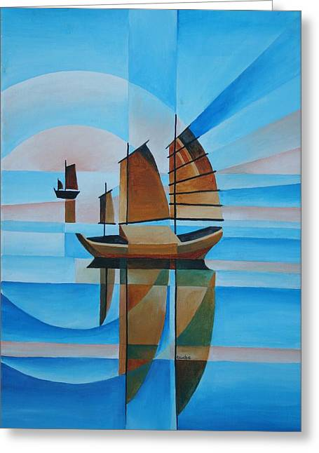 Blue Skies And Cerulean Seas Greeting Card by Tracey Harrington-Simpson