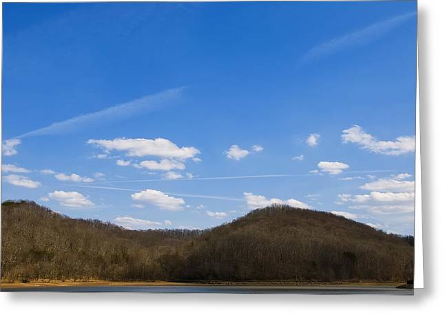 Blue Skies Over The Ohio River Greeting Card