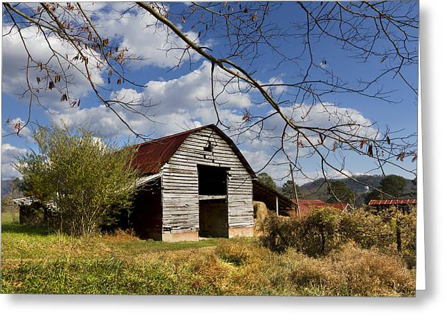 Blue Skies Red Roof Greeting Card by Debra and Dave Vanderlaan