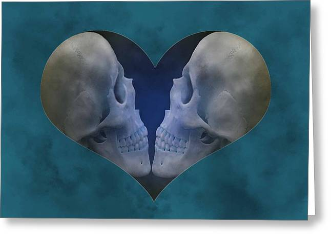 Blue Skull Love Greeting Card by Diana Shively