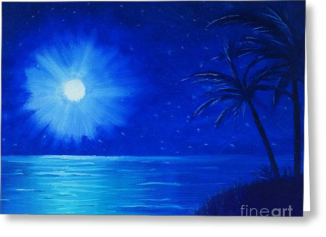 Greeting Card featuring the painting Blue Sky At Night by Arlene Sundby