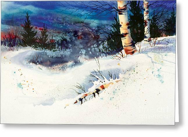 Blue Sky Birch Greeting Card by Teresa Ascone