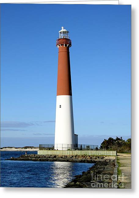 Blue Sky Blue Sea  And Barnegat Light Greeting Card by Christiane Schulze Art And Photography