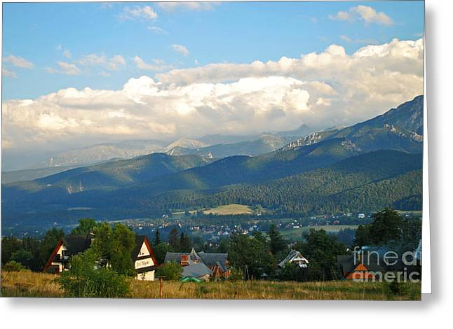 Blue Sky Over Moutains Greeting Card by Maja Sokolowska