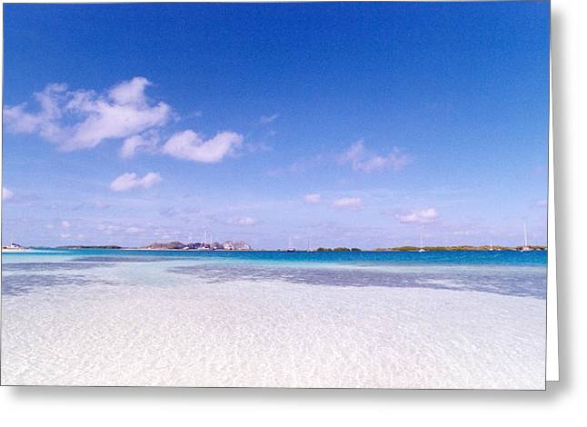Blue Sky Over White Sandy Beach Greeting Card