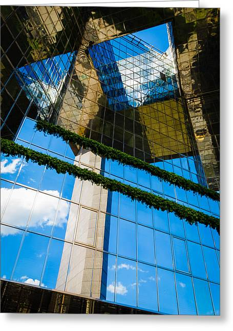 Greeting Card featuring the photograph Blue Sky Reflections On A London Skyscraper by Peta Thames
