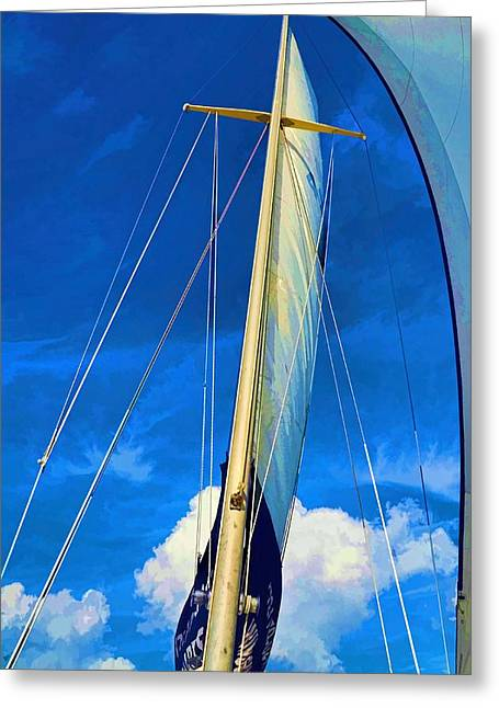 Blue Sky Sailing Greeting Card by Pamela Blizzard