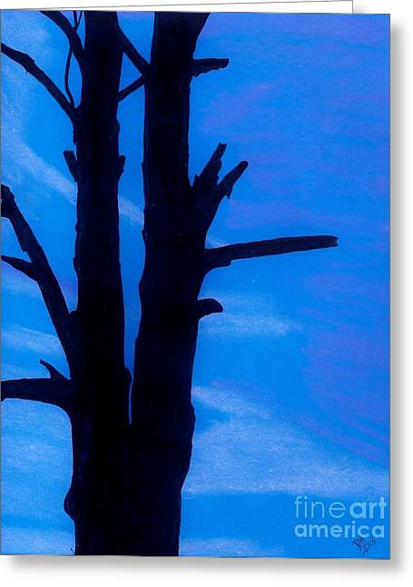 Greeting Card featuring the drawing Blue Sky Tree by D Hackett