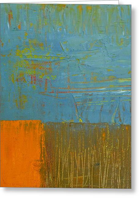 Blue Sky With Orange And Brown Greeting Card