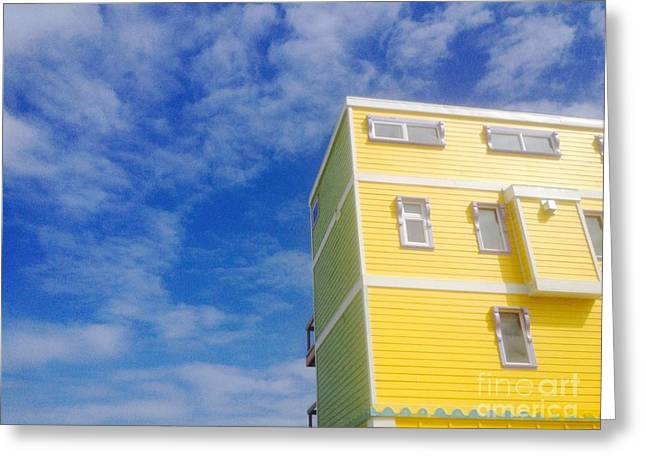 Blue Sky Yellow House Greeting Card by WaLdEmAr BoRrErO