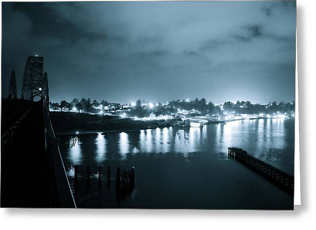 Blue Skys And City Lights Greeting Card by Sheldon Blackwell