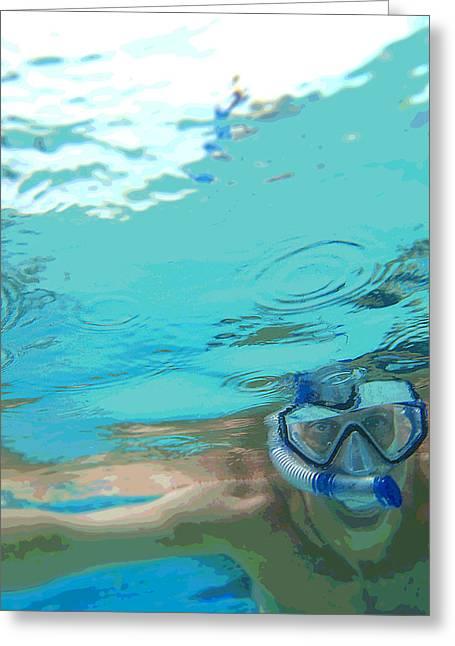 Blue Snorkel Greeting Card