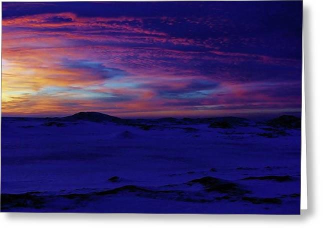 Blue Snow Sunset Greeting Card by Kathi Mirto