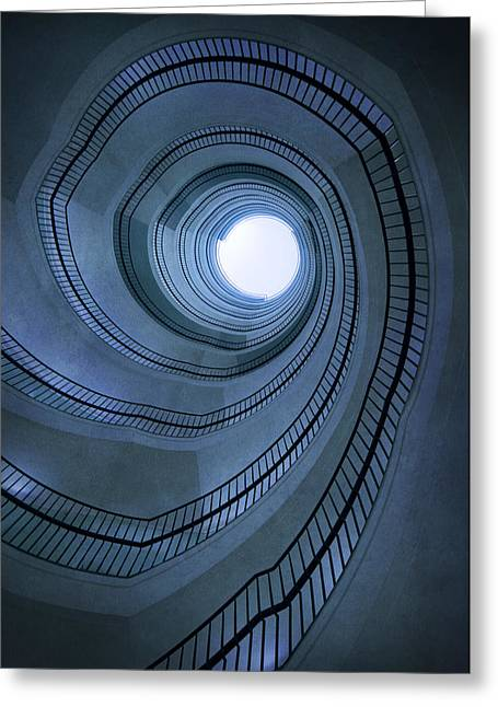 Blue Spiral Staircaise Greeting Card by Jaroslaw Blaminsky