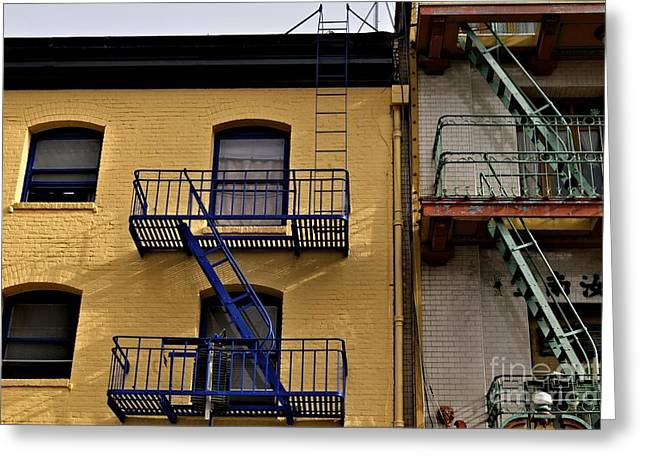 Greeting Card featuring the photograph Blue Stairs Green Stairs  by Sherry Davis