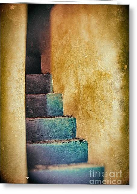 Blue Stairs - Yellow Wall    Greeting Card