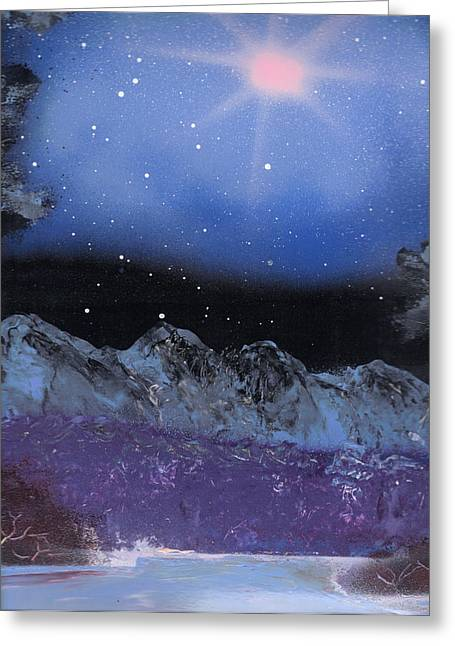 Blue Stars Night Greeting Card by Marc Chambers