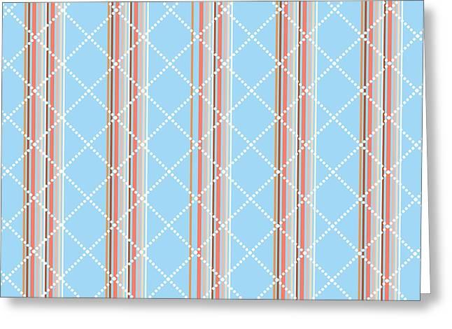 Blue Stripe Pattern Greeting Card by Christina Rollo
