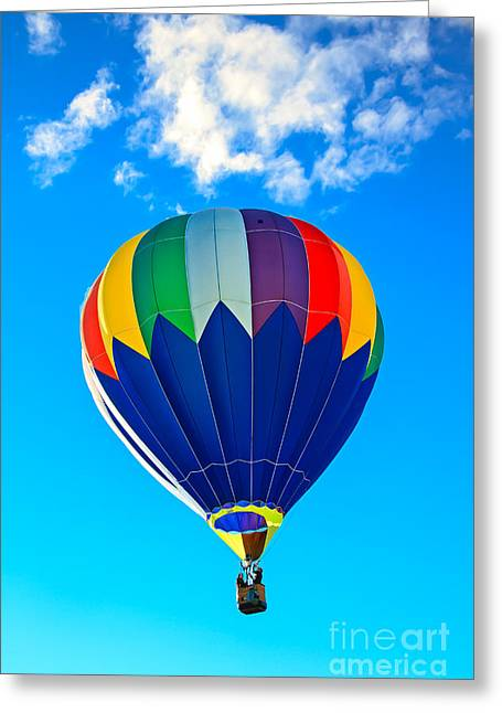 Blue Striped Hot Air Balloon Greeting Card by Robert Bales