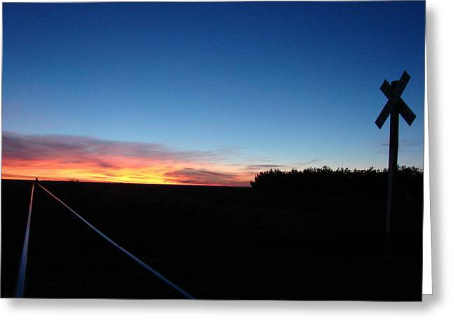 Blue Sunrise Over The Tracks Greeting Card by Cary Amos