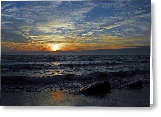 Blue Sunset Greeting Card by Dan Myers
