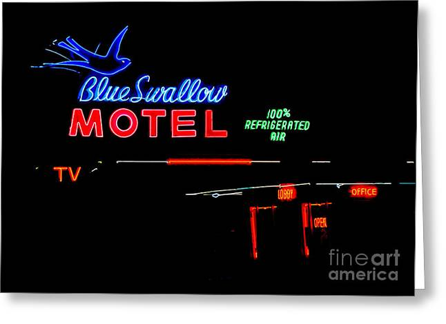 Blue Swallow Motel Neon Sign Greeting Card by Catherine Sherman