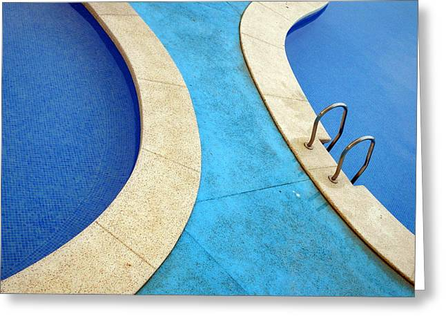 Blue Swimming Pools Greeting Card by Patrick Dinneen