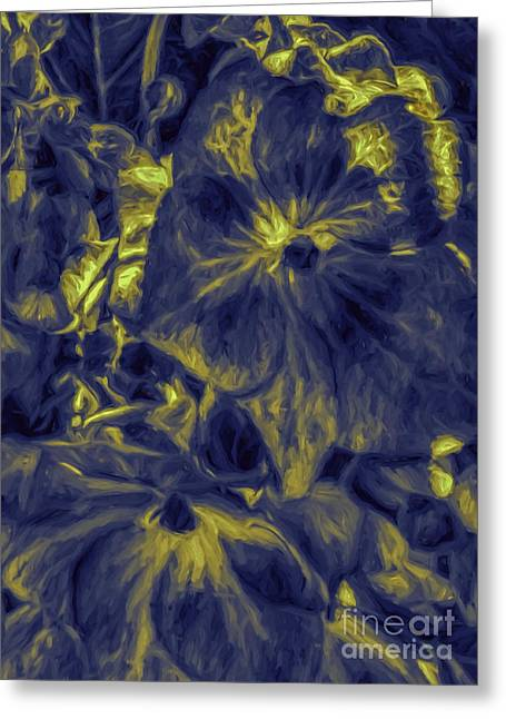 Blue Tango Floral Greeting Card by Jean OKeeffe Macro Abundance Art