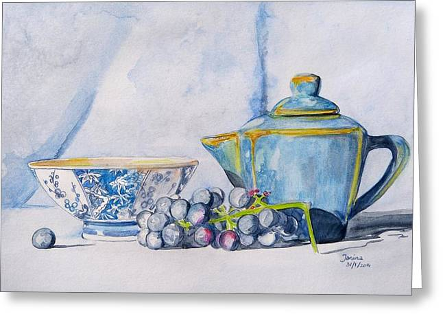 Greeting Card featuring the painting Blue Teapot  by Janina  Suuronen