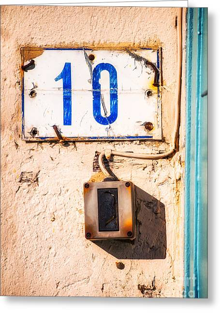 Blue Ten With Rotten Doorbell Greeting Card by Silvia Ganora