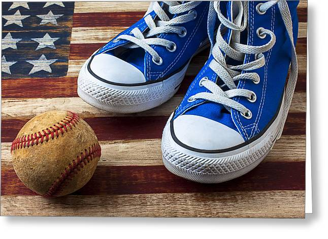 Blue Tennis Shoes And Baseball Greeting Card