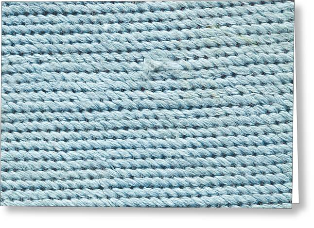 Blue Textile Greeting Card by Tom Gowanlock