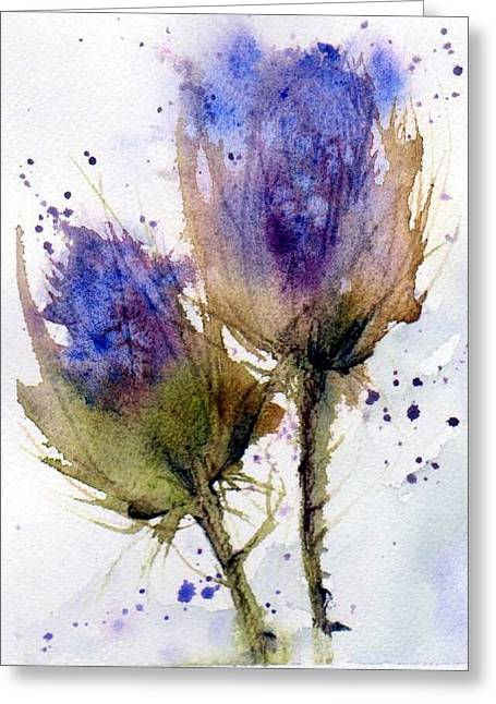 Blue Thistle Greeting Card