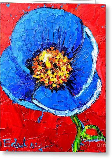 Blue Tibetan Poppy Greeting Card by Ana Maria Edulescu