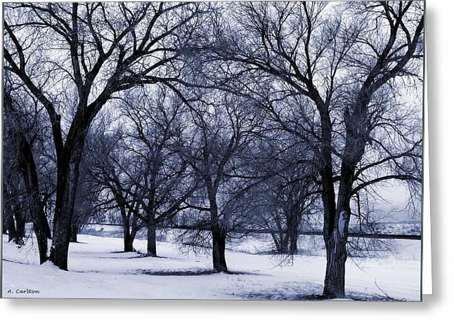 Greeting Card featuring the digital art Blue Tone Trees by Aliceann Carlton
