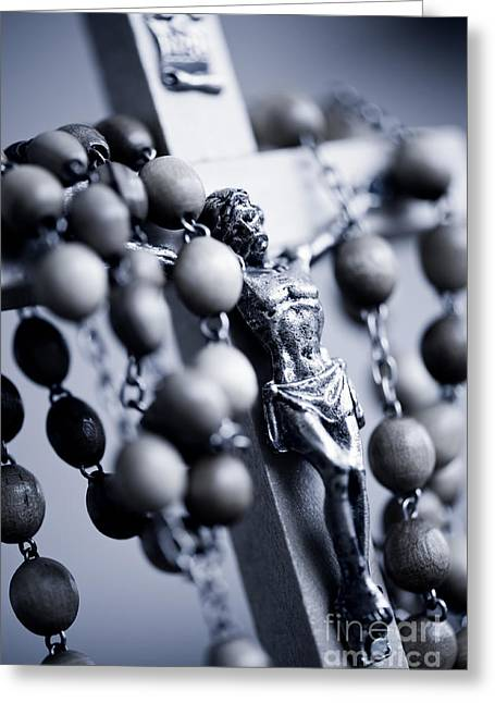 Blue Toned Jesus Rosary Greeting Card