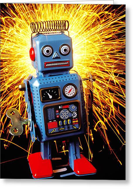Blue Toy Robot Greeting Card by Garry Gay