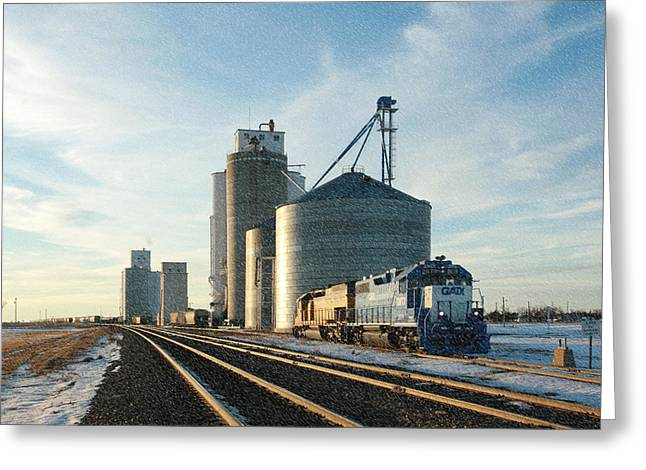 Greeting Card featuring the photograph Blue Train Blue Sky by Shirley Heier