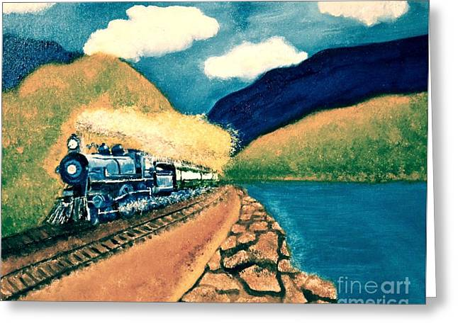 Greeting Card featuring the painting Blue Train by Denise Tomasura