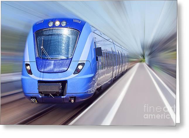 Blue Train In Motion Greeting Card by Antony McAulay