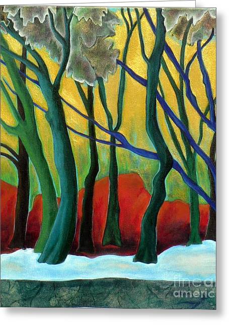 Greeting Card featuring the painting Blue Tree 1 by Elizabeth Fontaine-Barr