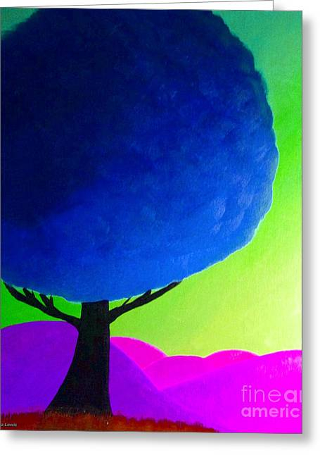 Greeting Card featuring the painting Blue Tree by Anita Lewis
