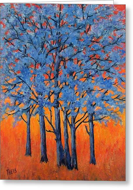 Blue Trees On A Hot Day Greeting Card
