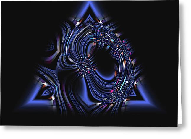 Blue Triangle Jewel Abstract Greeting Card