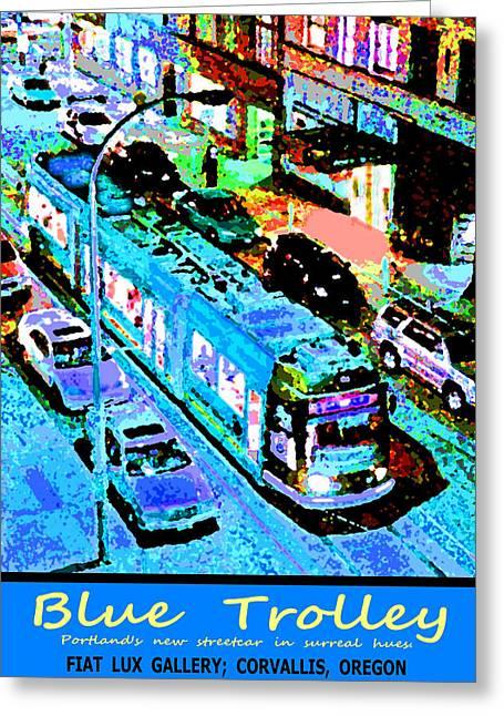 Blue Trolley Portland Greeting Card