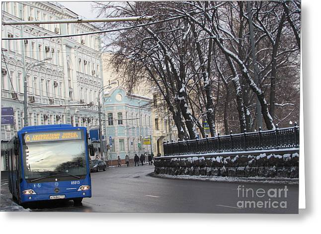 Blue Trolleybus Greeting Card by Anna Yurasovsky