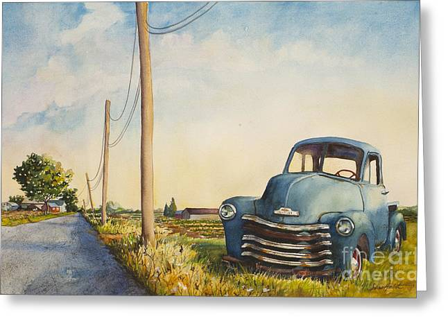 Greeting Card featuring the painting Blue Truck North Fork by Susan Herbst