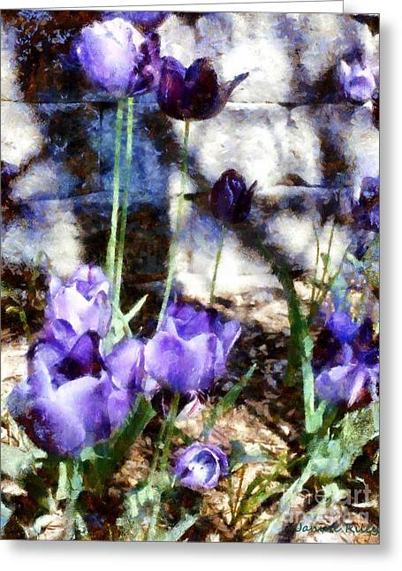 Blue Tulips In The Garden Greeting Card by Janine Riley