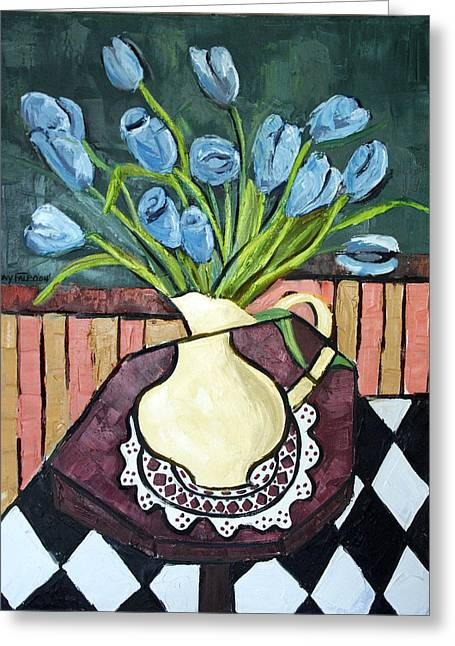 Blue Tulips On Octagon Table Greeting Card